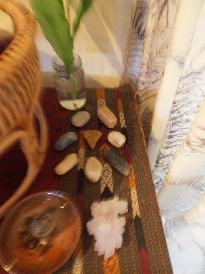 pretty pebbles on an altar